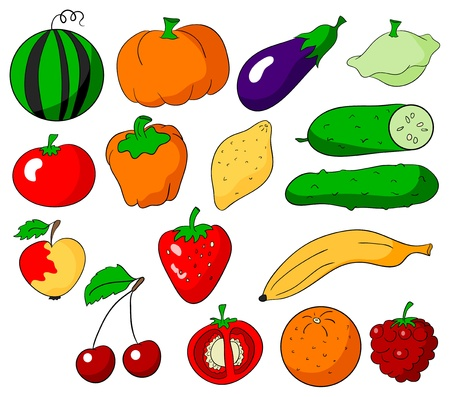 fruits and vegetables collection on a white background Stock Vector - 13613944