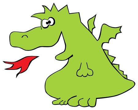 green dragon is isolated on a white background Vector