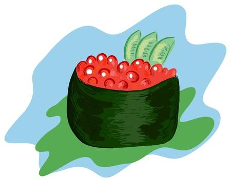 caviar: sushi avec caviar rouge sur un fond bleu Illustration