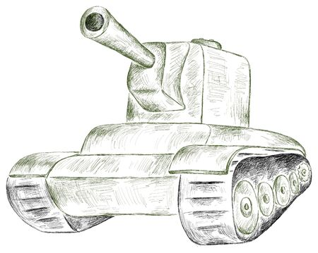 Panzer: stroke green panzer on a white background Illustration