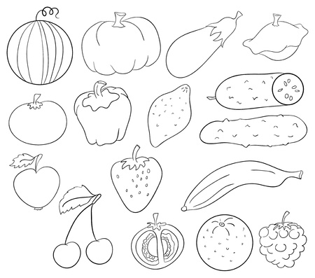 fruits, berries and vegetables contour collection Vector