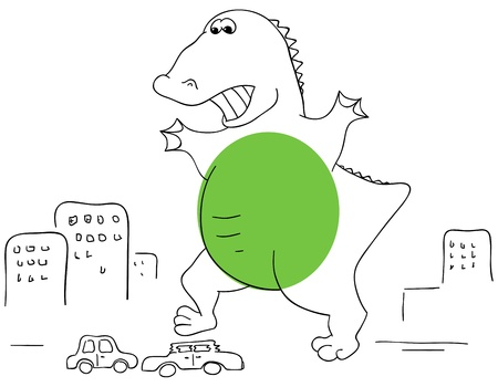 crushed: green Godzilla is crushed the car
