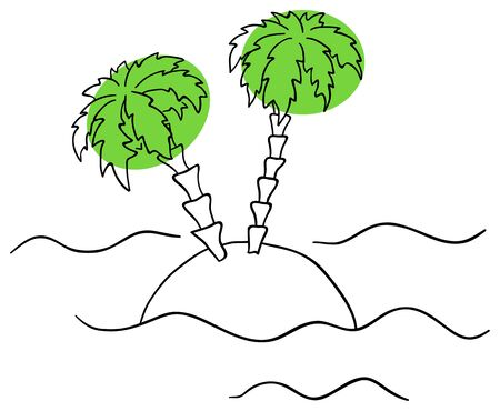 line drawings: island is isolated on a white background