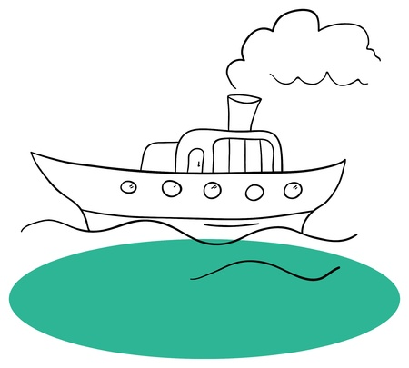 ship and the sea on a white background Vector