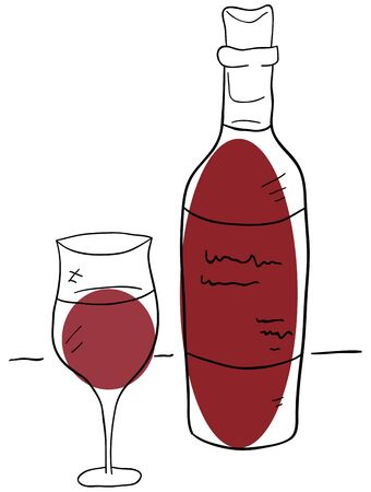 wine bottle and glass on a white background Vector