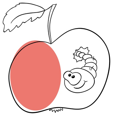 apple with worm on a white background Stock Vector - 13711462