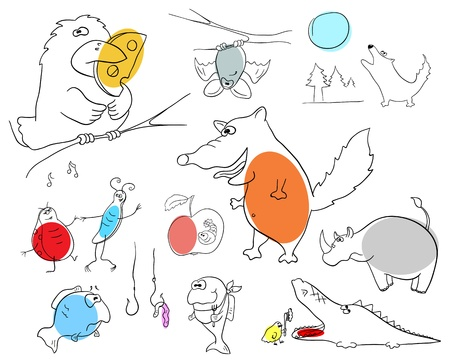 crazy animals collection on a white background Stock Vector - 13826533