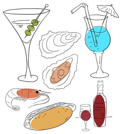 food and beverages on a white background