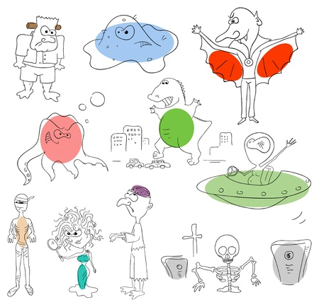 monster collection on a white background Vector