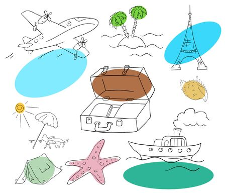 vacation collection on a white background Vector