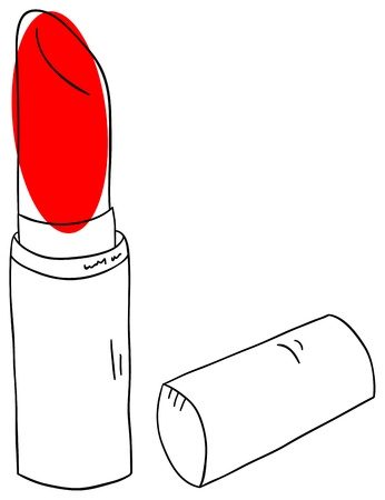 lipstick tube: red lipstick is isolated on a white background Illustration