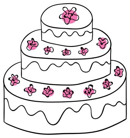 decoracion de pasteles: torta está aislado en un fondo blanco