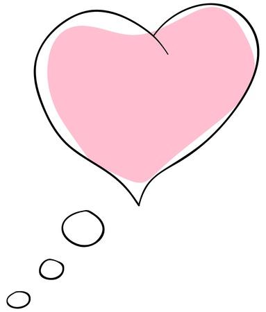 nuage de pens�e coeur sur un fond blanc