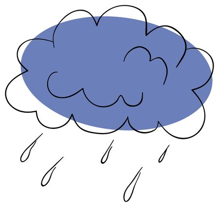 cartoon rain: thunderstorm cloud on a white background Illustration