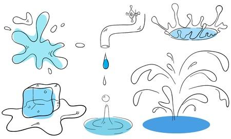 El agua cae por recogida de vectores sobre un fondo blanco
