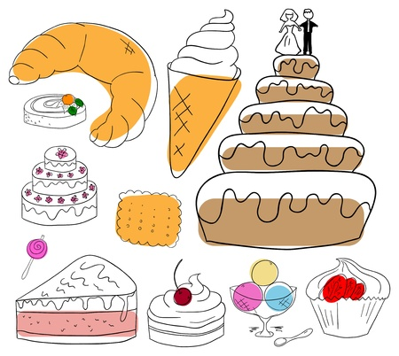 croissants: Vector dessert collection on a white background Illustration