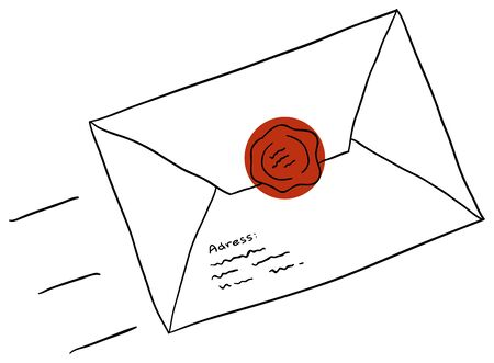 cartoon envelope: Vector letter is isolated on a white background