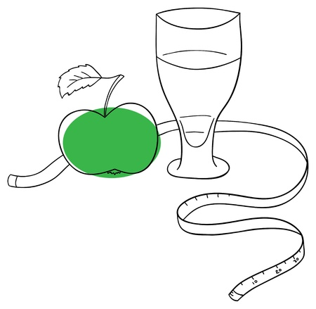 Vector green apple and juice on a white background Stock Vector - 13930735