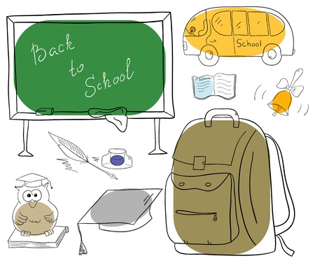 school objects collection on a white background Vector