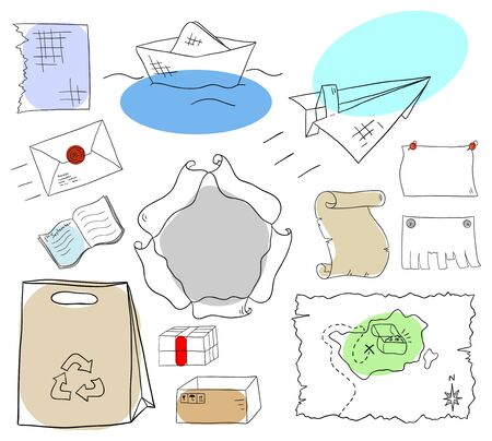 paper sheets and objects collection on a white background Vector