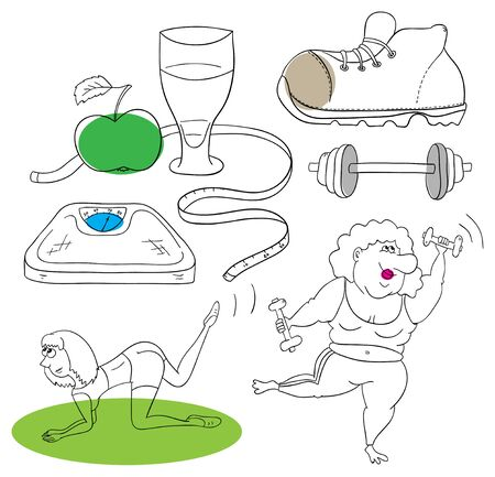 fitness collection on a white background Vector