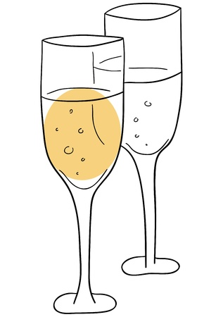 fizz: glasses with champange on a white background