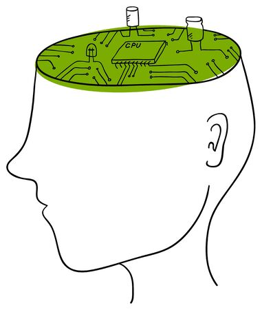 green motherboard in the man head Vector