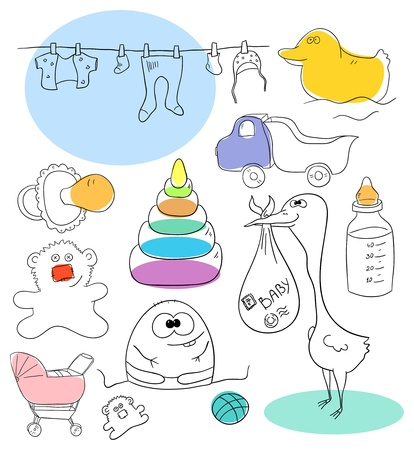 Baby collection objects are isolated on a white background Vector