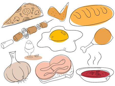MEAT LOAF: Food collection objects are isolated on a white background Illustration