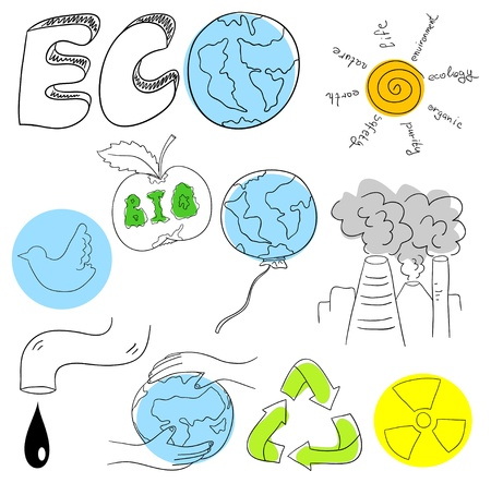 Ecology collection objects are isolated on a white background Stock Vector - 14571855