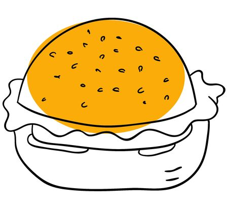 Vector hamburger is isolated on a white background Vector
