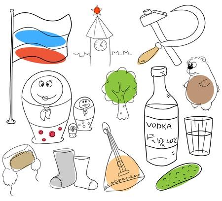 estereotipo: Objetos rusos están aislados en un fondo blanco Vectores
