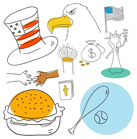 redskin: American objects are isolated on a white background Illustration