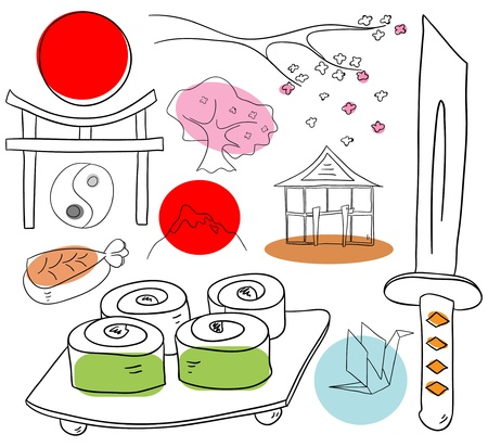 Japan objects are isolated on a white background Vector
