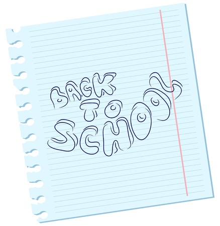 Vector Back to school inscription on a sheet of paper Vector