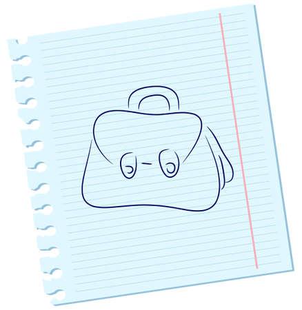 Vector handbag on a sheet of paper Vector