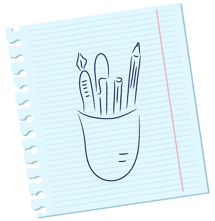 Vector pencils and pens on a sheet of paper Vector