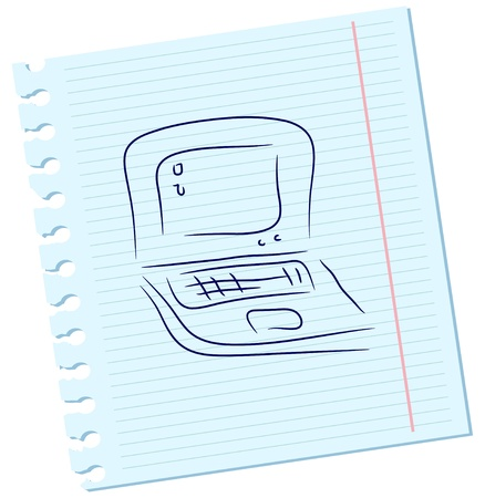 Vector laptop on a sheet of paper Vector