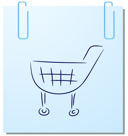 handcart: Vector sticker with handcart on a white background Illustration