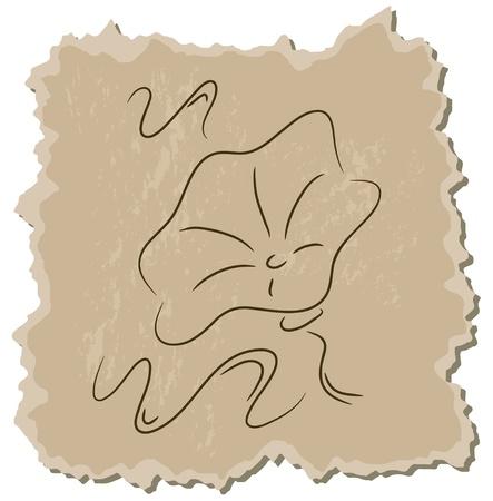 Vector bindweed on a brown cardboard background Vector