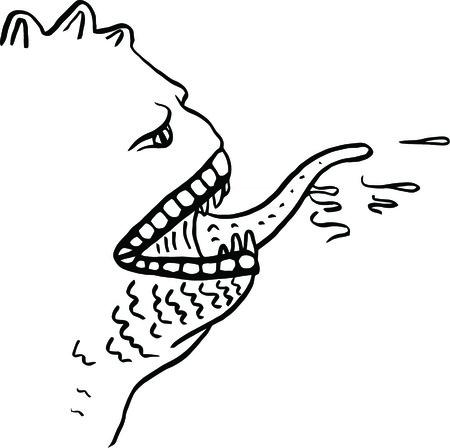 saliva: Vector doodle monster on a white background Illustration