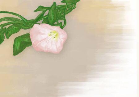 Vector bindweed flower on a pastel brown background Ilustração