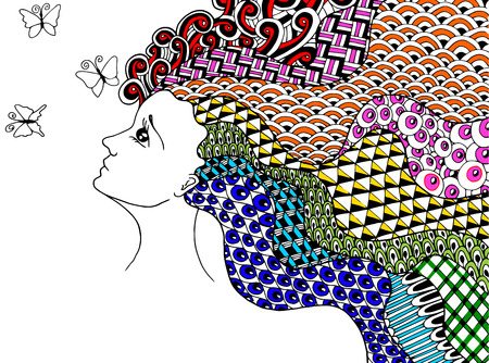 Colorfull zentangle style girl and three butterflies
