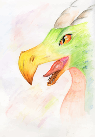 beak: Vector watercolor dragon with the eagle beak