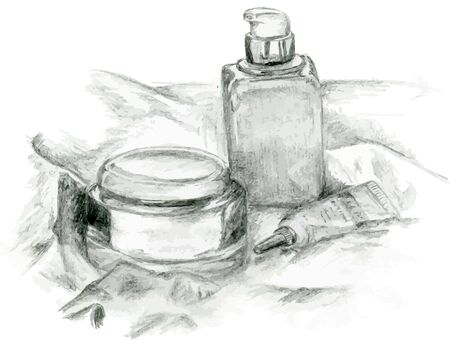 serum: Vector gray creams and serum in the glass bottles Illustration