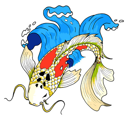 Vector colorido estilo asiático peces carpa koi Ilustración de vector