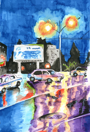 city road: Vector night city road of the rain