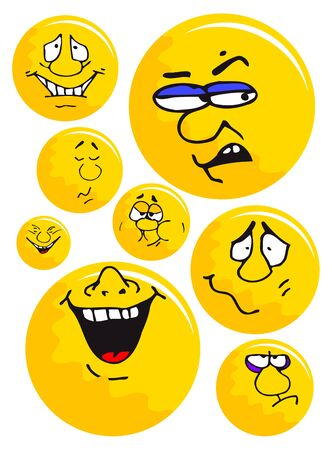 emotion faces: Vector yellow ball emotions collection on a white background