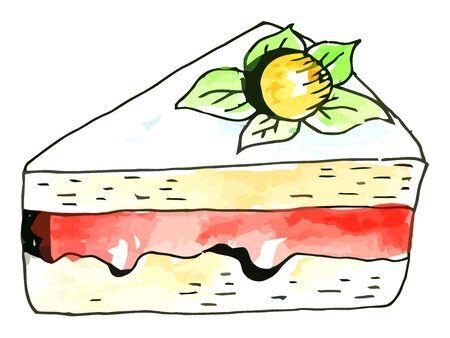 porcion de pastel: Vector acuarela pedazo de pastel en un fondo whie