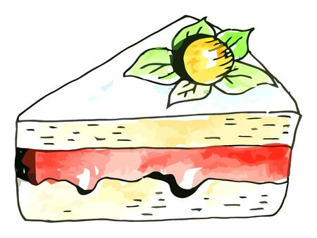 whie: Vector watercolor piece of cake on a whie background
